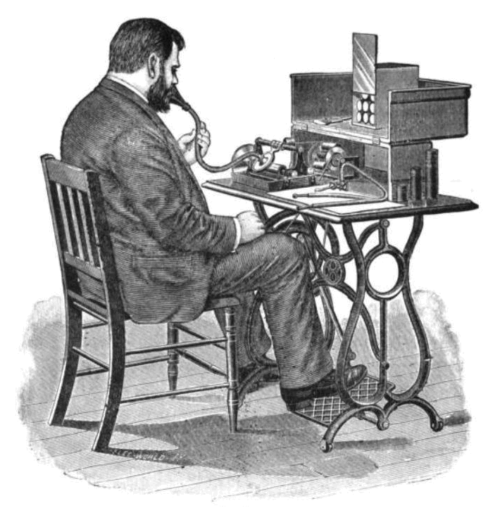 Victorian gentleman speaks into a recording device
